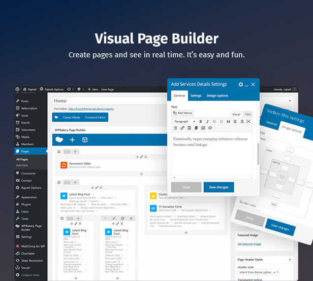Political WordPress Theme using page builder