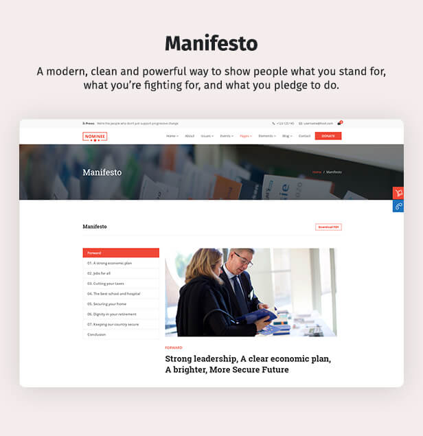 Political WordPress Theme Manifesto