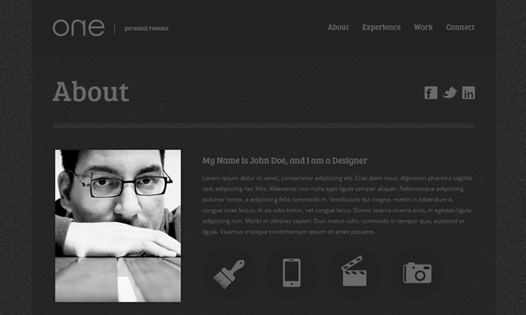 One: A Free One Page Web Resume Template  Personal Website Resume