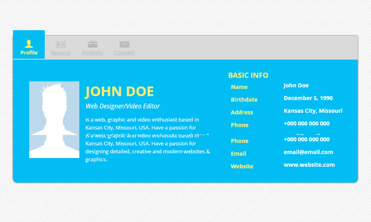 responsive cv websites - Html Resume Template Free