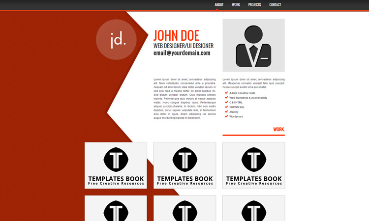 20 best free html resume templates by trendy theme jd portfolio template pronofoot35fo Choice Image