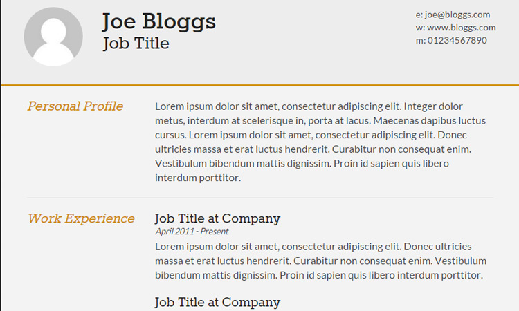 Responsive HTML/CSS3 CV Template  Good Resume Templates Free