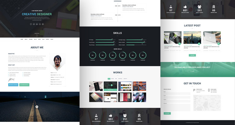20+ Best Free HTML Resume Templates To Download  Wordpress Resume Template