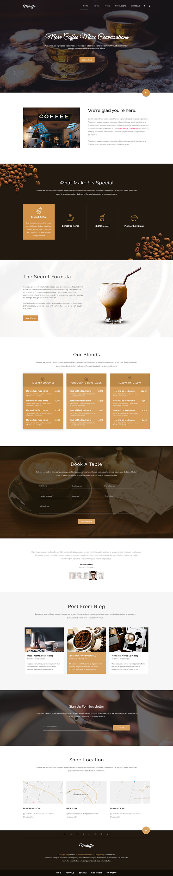 Material Design Coffee Shop PSD Template
