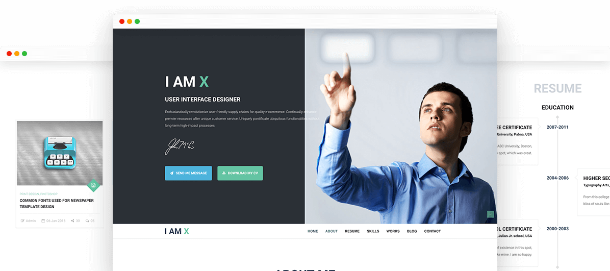 Best I-Am-X Html Resume Template | Trendy Theme