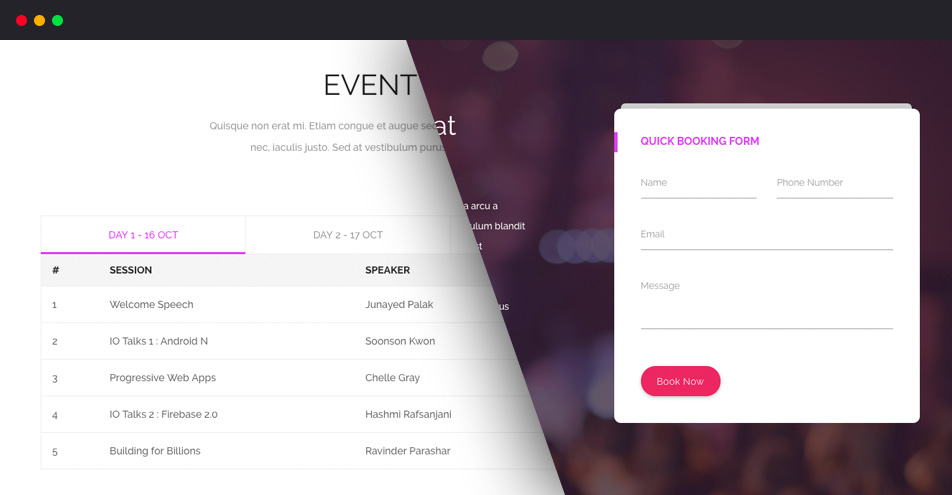 Event Schedule and Booking Ticket