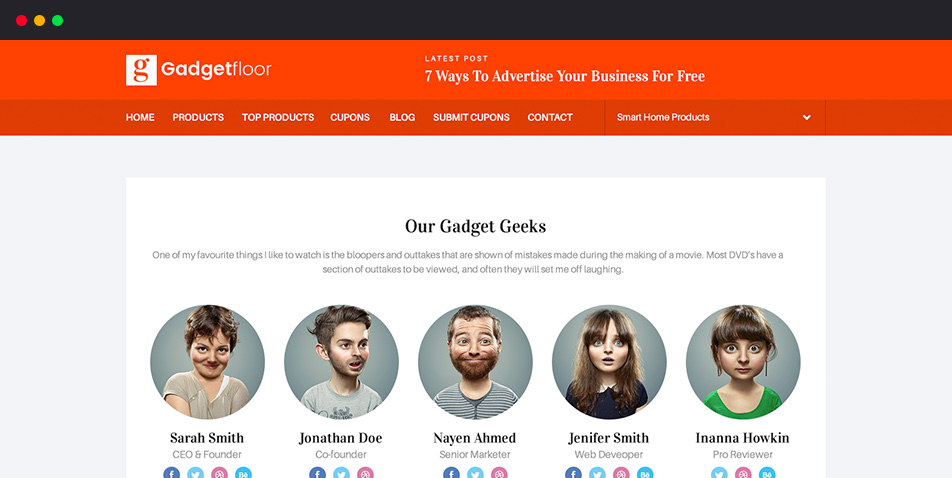 Awesome Team page in Gadgetfloor
