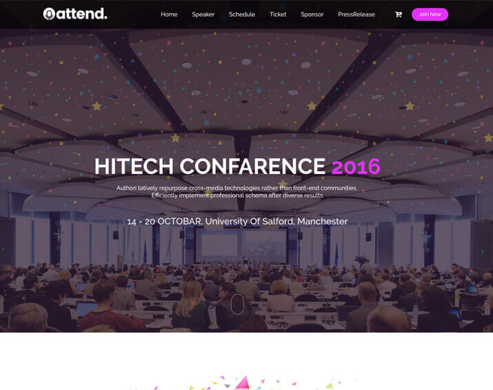 """<span itemprop=""""name"""">Attend – Conference & Event Template</span>"""