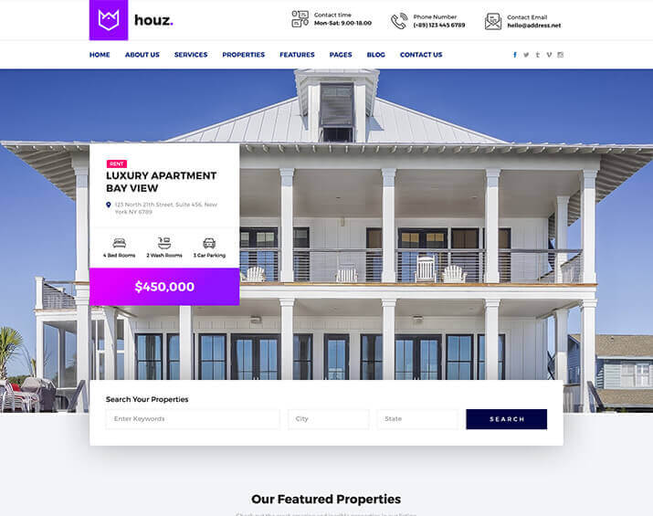 houz the best real estate html template by trendy theme