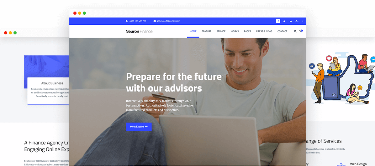 Neuron finance free html business template trendy theme free html business template friedricerecipe Image collections