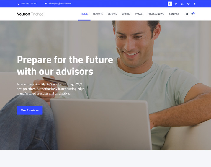 Themes trendy theme neuron finance free html business template accmission